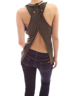 Amazon.com: Patty Women Sexy Cross Back Necklace Hippie Top Cami (Green S): Clothing $32.99