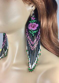 Handmade glass beaded white pink Rose design extra long earrings