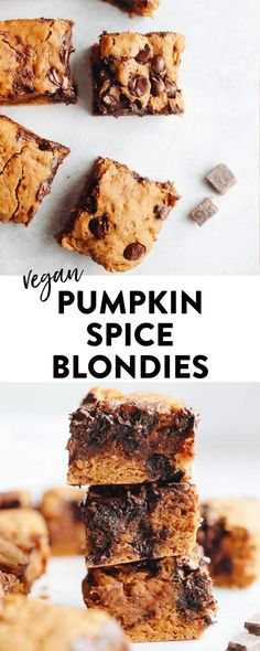 Taste the best of fall with this pumpkin spice blondies recipe! The perfect seasonal dessert made with canned pumpkin (or fresh!), pumpkin pie spices and made entirely vegan with a gluten-free option. Vegan blondies have never tasted so good. Vegan Pumpkin, Canned Pumpkin, Pumpkin Recipes, Pumpkin Spice, Baking Recipes, Vegan Recipes, Dessert Recipes, Dessert Bars, Free Recipes