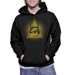 Mens Golden All Seeing Eye - Eye Of Providence Hoodie Sweatshirt   Gothic Dress Code