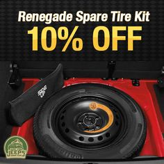 Never be unprepared for a roadside emergency ever again with our Renegade Spare Tire Kit! On sale for 10% off now.  Order now: JustForJeeps.com/82214679ab.html