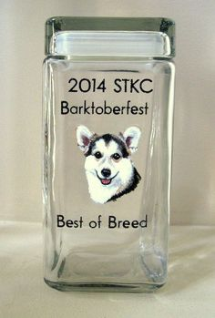Welsh Corgi Pet Treat Jar Dog Show Award Painted Trophy by petzoup