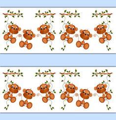 MONKEY DECAL STICKER Wallpaper Border Wall Art Boy Safari Nursery Baby Decor Kids Room Childrens Jungle Bedroom Hanging Swinging Monkey Vine #decampstudios