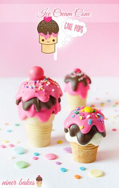 {Happy National Ice Cream Day} niner's Ice Cream Cone Cake Pops - tutorial by niner bakes(Baking Sweet 3 Ingredients) Ice Cream Cone Cake, Ice Cream Day, Cream Cake, Cream Cream, National Icecream Day, National Ice Cream Month, Cake Pops, Cake Pop Tutorial, Ice Cream Social
