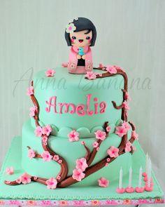 Japan Cake, Chinese New Year Cake, Cherry Blossom Party, Sushi Party, Beautiful Birthday Cakes, Girly Cakes, Custom Wedding Cake Toppers, Cake Smash Photos, Kokeshi Dolls