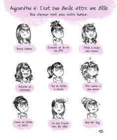 On peut deviner l'humeur d'une fille selon ses cheveux...belle théorie :P