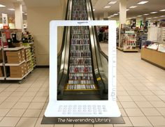 Neverending library – a smart ambient media ad for Kindle [picture]