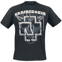 """Classica T-Shirt uomo nera """"In Ketten"""" dei #Rammstein con ampia stampa frontale."""