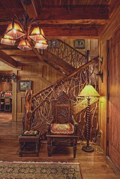 Beautiful Rustic Craftsman style - with rustic finishes including this log and twig bannister