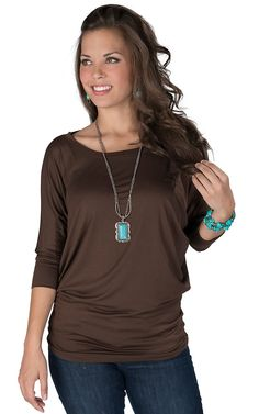 Karlie® Women's Brown 3/4 Dolman Sleeve Top