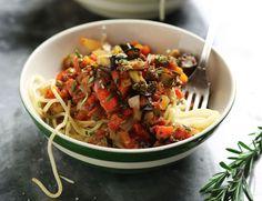 Veggie - Spaghetti with Roast Aubergine Bolognese Recipe Chef Recipes, Whole Food Recipes, Vegan Recipes, Cooking Recipes, Vegan Food, Healthy Food, Veggie Spaghetti, Coles Recipe, Eggplant Pasta