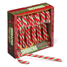 J & D Sriracha Candy Canes. Not exactly a true Sriracha flavor, but definitely red and spicy (and addictive) like Sriracha, and totally festive. I'm not sure actual Sriracha flavor would've gone well in a cane, anyway. Holiday Candy, Christmas Candy, Holiday Gifts, Christmas Stuff, Holiday Ideas, Christmas Ideas, Merry Christmas, Christmas Child, Christmas Colors