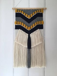Hand Woven Wall Hanging with Chevron Detail
