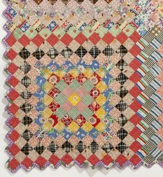 detail, vintage Postage Stamp quilt in the collection of Susan Dague