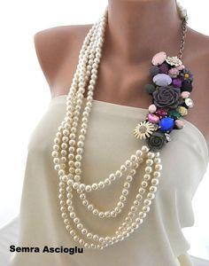 Bohemian Brides Pearl Necklace with handmade by HMbySemraAscioglu, $240.00