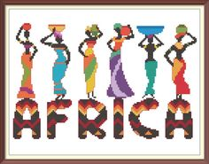This Africa Modern Cross Stitch Pattern PDF Chart Colorful African Ethnic Women Font is just one of the custom, handmade pieces you'll find in our patterns & how to shops. African Love, African Design, African Art, Crochet Flower Tutorial, Ethnic Patterns, Modern Cross Stitch Patterns, Crochet Chart, Knitting Patterns, Pdf Patterns