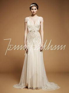 Jenny Packham flutter sleeved gown.