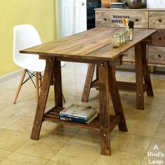 A Bird's Leap: DIY Rustic Desk with Stained IKEA Legs