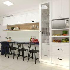 Cozinha   cristaleira + fruteira + mesa de pequenas refeições: cozinhas pequenas por casa due arquitetura   homify Küchen Design, House Design, Interior Design, Home Decor Kitchen, Kitchen Interior, Design Moderne, Cuisines Design, Sweet Home, New Homes