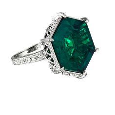 Sonata 14.53 Carat Muzo Mine Colombian Emerald and Collection Full Cut Micro Diamonds Platinum Ring