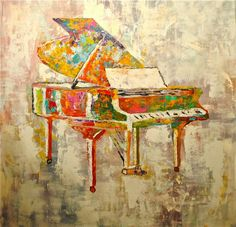 """Grand Piano"" by Gino Savarino, Chicago // Modern and contemporary art from Gino Savarino. Colorful and bold grand Piano music painting. // Imagekind.com -- Buy stunning, museum-quality fine art prints, framed prints, and canvas prints directly from independent working artists and photographers."