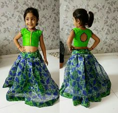 Pattu pavada Kids Party Wear Dresses, Kids Dress Wear, Baby Girl Party Dresses, Kids Gown, Dresses Kids Girl, Kids Outfits, Baby Girl Dress Patterns, Baby Dress Design, Kids Blouse Designs