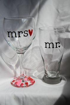 Mr and Mrs Wine and Beer Glass SetPerfect by MoreShenanigans, $18.00
