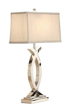 Yosemite Home Decor PTL3021 Portable Table Lamp with Light Grey Silk Shade, Polished Nickel