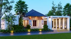 Arnold Private House Design - Jakarta- Quality house design of architectural services, experienced professional Bali Villa Tropical designs from Emporio Architect. Modern Tropical House, Tropical House Design, Modern Small House Design, Classic House Design, Minimalist House Design, Tropical Houses, Style Villa, Bali House, Beautiful Home Gardens