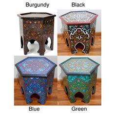 Handpainted Burgundy Arabesque II Wooden End Table (Morocco)   Overstock.com