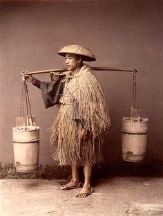 PORTEUR D'EAU, VERS 1885  KUSAKABE KIMBEI
