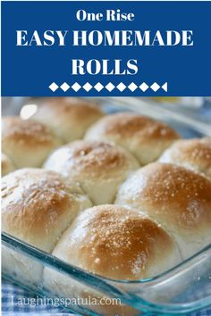 These Easy Homemade rolls go into the oven to rise then crank the heat to bake them! One rise easy and so delicious! rolls via ♛BOUTIQUE CHIC♛ Easy Homemade Rolls, Easy Rolls, Easy Bread Recipes, Baking Recipes, Bisquick Recipes, Muffin Recipes, Breakfast Recipes, No Yeast Dinner Rolls, Unique Recipes