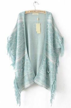 Green Sleeveless Tassel Geometric Print Cape Sweater