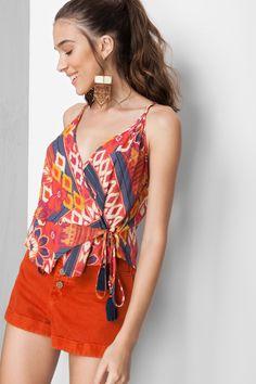blusa transpasse estampada - Blusas   Dress to