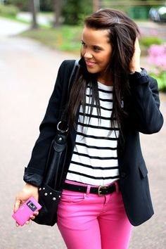 black & white stripes with my pink jeans