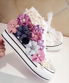 Flowers Cut Out Dirty Casual Shoes For Women Canvas Shoes High Top Summer Shoes For Women - Baby/Kinder Mode - Bling Shoes, Bling Bling, Women's Shoes, Baby Shoes, Flat Shoes, Shoes Sneakers, High Tops, Tall Winter Boots, Equestrian Boots