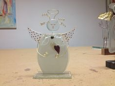 Handmade Angel (Louise) made in fused glass on glass foot. Price €45 Dkk 300 Made in Denmark by Artdust.dk