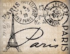 Antique Paris Postmarks Label Script Ornate