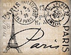 Antique Paris Postmarks Label Script Ornate