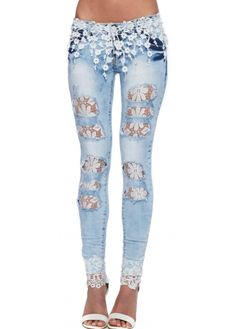 Designer Desirables Light Blue Distressed Stretch Lace Waist Jeans With Lace Rips Lace Jeans, Jeans Denim, Old Jeans, Trouser Jeans, Ripped Jeggings, Ripped Skinny Jeans, Cooler Style, Diy Clothes, Clothes For Women