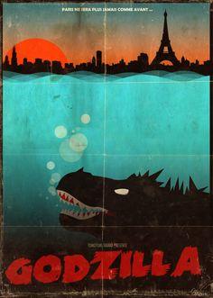 colorful godzilla poster