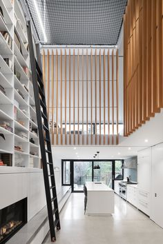 An atrium ringed with wooden slats and topped with netting is the focal point of this slender Montreal dwelling.