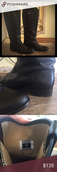 "Frye Boots Black frye boots, some wear on bottom, very good condition. 15 1/2 "" from heel to top of boot, circumference at calf is 14"", from smoke free home. Frye Shoes Heeled Boots"