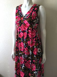 Vintage Women's 60's Maxi Dress, Floral, Navy Blue, Pink, Sleeveless (M) by Freshandswanky on Etsy