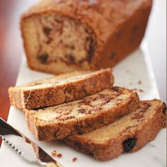 Cinnamon Raisin Quick Bread - Ooh, I can smell the cinnamon and raisins baking when I just look at this picture.