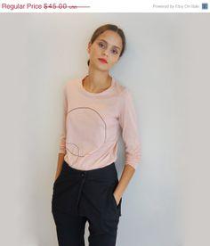 Chemise imprimée à manches longues rose femmes Cyber lundi vente saumon