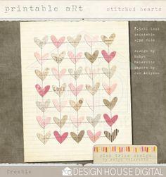 Stitched Hearts {free print}