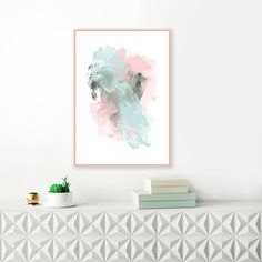 A modern art print with soothing shades of soft pink, blue and sage green, perfect for your sophisticated home.  You can download and print this file instantly, giving you the flexibility to print at a variety of sizes up to (A1) 33.1 X 23.4 or 24x36 inches.