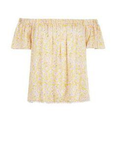 Yellow Ditsy Floral Print Crochet Trim Bardot Neck Top  | New Look