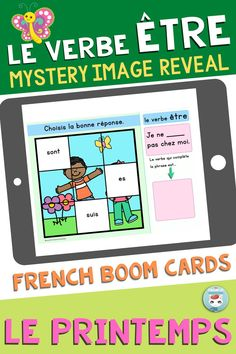 """Get your students working with """"le verbe ÊTRE au présent de l'indicatif"""" by playing this deck of French Boom Cards. This is a Mystery Image Reveal game: when the student gets the right answer, a piece of the image is revealed. Great way to practice French verb conjugation and grammar in context. For French Immersion and Core French students. French Verbs, French Grammar, Verb Conjugation, Mystery, Core French, Deck, French Immersion, Student Work, Sentences"""